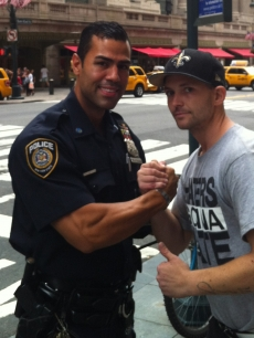 J.W. Cortes and Marine Corp. Sargeant Tyler Dodd in NYC, August 27, 2012