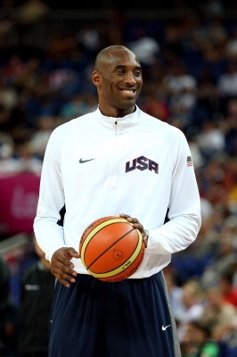 Team USA's Kobe Bryant looks on ahead of the Men's Basketball gold medal game between the United States and Spain at the London 2012 Olympics Games on August 12, 2012