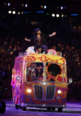 Russell Brand performs during the Closing Ceremony on Day 16 of the London 2012 Olympic Games at Olympic Stadium on August 12, 2012
