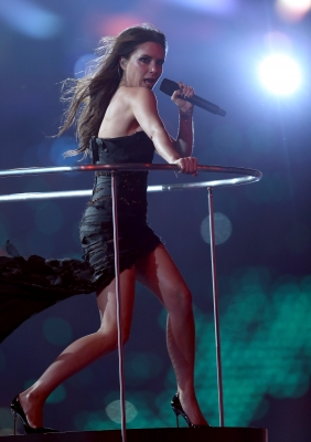 Victoria Beckham of Spice Girls performs during the Closing Ceremony on Day 16 of the London 2012 Olympic Games at Olympic Stadium on August 12, 2012