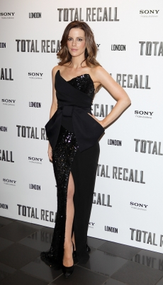 Kate Beckinsale attends the UK Premiere of 'Total Recall' at the Vue West End in London on August 16, 2012