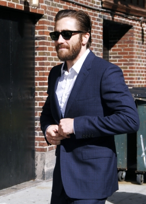 Jake Gyllenhaal arrives for 'The Late Show with David Letterman' at Ed Sullivan Theater, New York City, on August 27, 2012