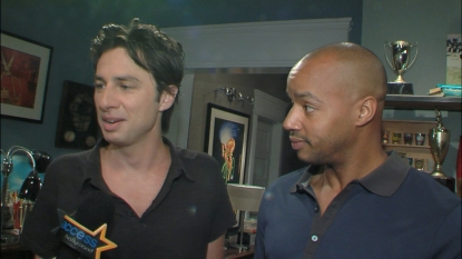 Zach Braff and Donald Faison on the set of &#8216;The Exes,&#8217; August 14, 2012