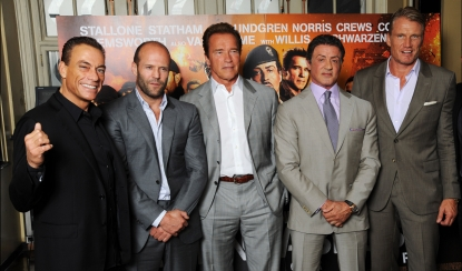 Jean-Claude Van Damme, Jason Statham, Arnold Schwarzenegger, Sylvester Stallone and Dolph Lundgren and Scott Adkins attend a photocall for The Expendables 2 in London on August 13, 2012