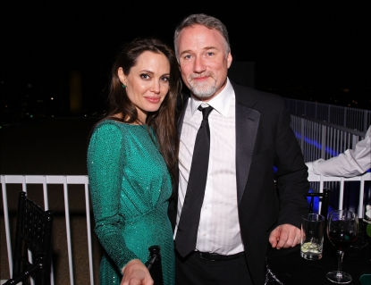 Angelina Jolie and David Fincher attend the Sony Pictures Classic 68th Annual Golden Globe Awards Party held at The Beverly Hilton hotel on January 16, 2011