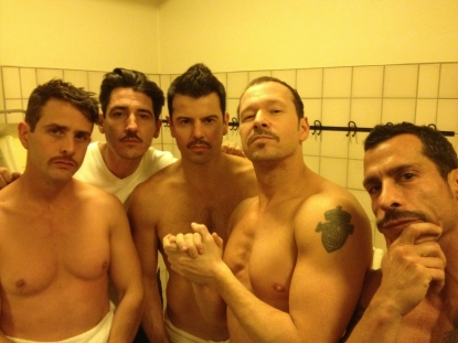 Donnie Wahlberg and his fellow New Kids on the Block members sport moustaches for a fun Twitter photo