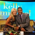 Kelly Ripa and Michael Strahan seen on the set of &#8216;Live! With Kelly &amp; Michael&#8217; on September 4, 2012 