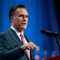 Gov. Mitt Romney addresses the crowd at the 134th National Guard Association Convention at the Reno-Sparks Convention Center, September 11, 2012 in Reno, Nevada