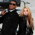 Usher and Shakira perform in front of the Lincoln Memorial during the 'We Are One: The Obama Inaugural Celebration At The Lincoln Memorial' on January 18, 2009 at the National Mall in Washington, DC