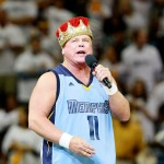 Professional wrestler Jerry &#8216;The King&#8217; Lawler address the fans prior a NBA playoff game between the Memphis Grizzlies and the Los Angeles Clippers on May 13, 2012 in Memphis, Tennessee