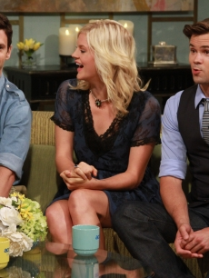 The cast of NBC's 'The New Normal' — Justin Bartha, Georgia King and Andrew Rannells — visit Access Hollywood Live, Burbank, Sept. 7, 2012