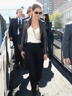 Katie Holmes is seen during Spring 2013 Mercedes-Benz Fashion Week at Lincoln Center for the Performing Arts, New York City, on September 12, 2012