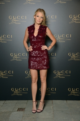Blake Lively shows off her toned legs at the Gucci Premiere Fragrance Launch at Hotel Cipriani in Venice, Italy on September 1, 2012