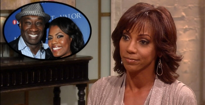 Holly Robinson Peete stops by Access Hollywood Live on September 5, 2012 / inset: Michael Clarke Duncan and Omarosa Manigault Stallworth