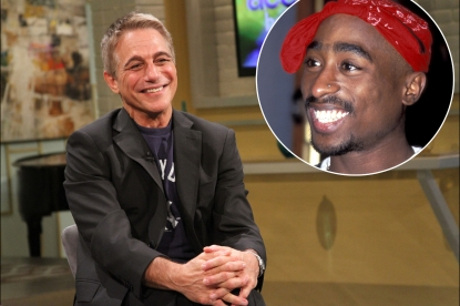 Tony Danze stops by Access Hollywood Live on September 18, 2012 / inset: Tupac Shakur 