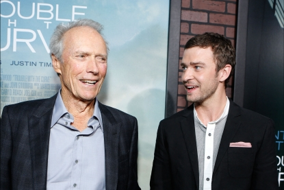 Clint Eastwood and Justin Timberlake at The World Premiere Of Warner Bros. Pictures' 'Trouble With The Curve' held at Mann Village Theatre in Westwood, Calif., on September 19, 2012