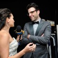 AccessHollywood.com's Laura Saltman chats with Zachary Quinto inside the Presenters Gift Lounge Backstage At The Nokia Theatre on Emmys Sunday