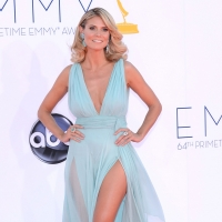 Heidi Klum shows some leg at the 64th Annual Primetime Emmy Awards at Nokia Theatre L.A. Live in Los Angeles on September 23, 2012 