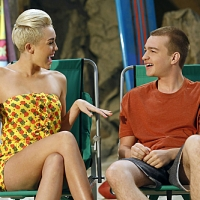 Miley Cyrus as Missi and Angus T. Jones as Jake in &#8216;Two and a Half Men,&#8217; Oct. 2012