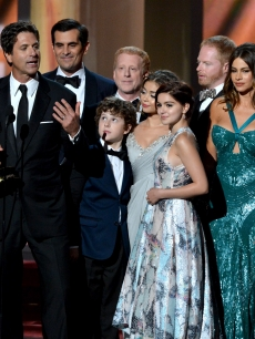 "The cast and crew of ""Modern Family"" takes the stage at the 2012 Emmy Awards"