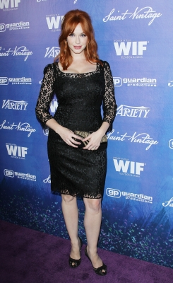 'Mad Men' star Christina Hendricks arrives at the Variety and Women in Film Pre-Emmy event held at Scarpetta in Beverly Hills on September 21, 2012