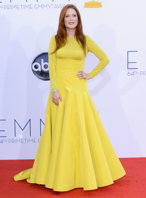 Julianne Moore steps out in style in a solid yellow dress at the 64th Annual Primetime Emmy Awards in Los Angeles on September 23, 2012
