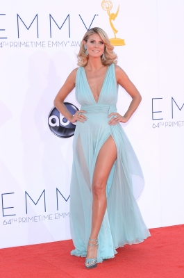 Heidi Klum looks stunning in a light blue dress at the 64th Annual Emmy Awards in Los Angeles on September 23, 2012