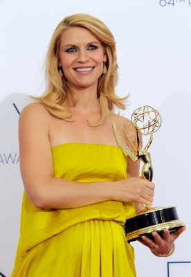 'Homeland' star Claire Danes poses in the press room during the 64th Primetime Emmy Awards at Nokia Theatre L.A. Live in Los Angeles on September 23, 2012