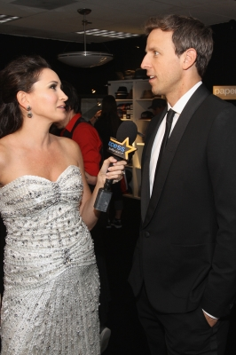AccessHollywood.com's Laura Saltman talks to 'SNL' star Seth Meyers inside the Presenters Gift Lounge Backstage At The Nokia Theatre on Emmys Sunday