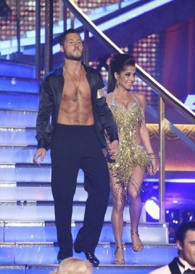A nearly shirtless Val Chmerkovskiy and Kelly Monaco take the stage for 'Dancing with the Stars: All-Stars' Week 1, Sept. 24, 2012
