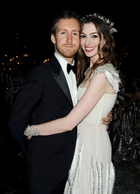 Adam Shulman and Anne Hathaway attend The White Fairy Tale Love Ball hosted by Valentino Garavani and Natalia Vodianova in aid of the Naked Heart Foundation at the Chateau de Wideville, Paris, on July 6, 2011