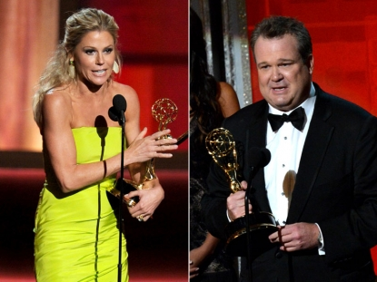 'Modern Family' stars Julie Bowen and Eric Stonestreet on stage at the 2012 Emmy Awards