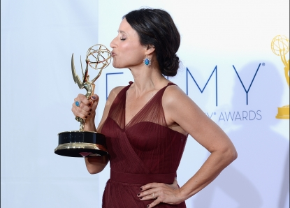 Julia Louis-Dreyfus, winner Outstanding Lead Actress in a Comedy Series, poses in the press room during the 64th Annual Primetime Emmy Awards at Nokia Theatre L.A. Live in Los Angeles on September 23, 2012 