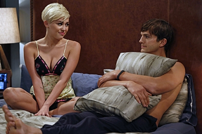 Miley Cyrus as Missi and Ashton Kutcher As Walden S. Schmidt in 'Two and a Half Men,' Oct. 2012
