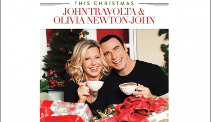 John Travolta and Olivia Newton-John's 'This Christmas' album cover
