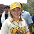 Sammi Kane Kraft poses for a photo as she visits Harlem little leaguers at the Harlem RBI Field July 19, 2005 in New York City