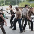 The gang fend off the walkers on the Season 3 premiere of 'The Walking Dead'