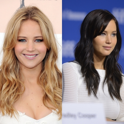 'The Hunger Games' star Jennifer Lawrence trades her blonde locks for a darker look as seen here during a 'Silver Lining Playbook' press conference on September 9, 2012