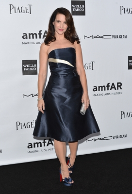 Kristin Davis arrives at amfAR's Inspiration Gala at Milk Studios in Hollywood on October 11, 2012