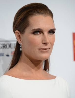 Brooke Shields attends the Elton John AIDS Foundation's 11th Annual An Enduring Vision Benefit at Cipriani Wall Street, New York City, on October 15, 2012