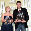 Miranda Lambert and Blake Shelton pose in the press room at the 46th annual CMA Awards at the Bridgestone Arena in Nashville, Tennesseeon November 1, 2012