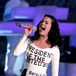Katy Perry performs at a campaign rally for Barack Obama at Doolittle Park in Las Vegas on October 24, 2012