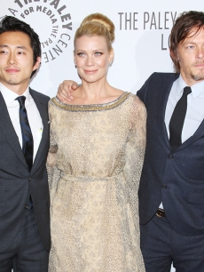 Norman Reedus, Laurie Holden and Steven Yeun at The Paley Center for Media's 2012 Los Angeles Benefit honoring Capital Research & Management Senior Vice President and Paley Center for Media trustee Gordon Crawford as well as AMC Networks and its CEO Josh Sapan at The Lot in Los Angeles California, October 22, 2012