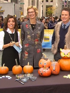 Kit Hoover and Billy Bush during Family Fun magazine's Halloween segment on Access Hollywood Live