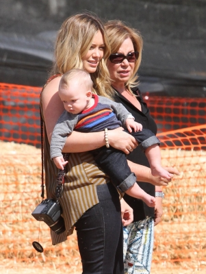 Hilary Duff goes pumpkin hunting with baby Luca at Mr. Bones Pumpkin Patch in Los Angeles on October 13, 2012