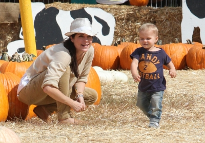 Selma Blair and son Arthur are seen at the Mr. Bones Pumpkin Patch in Los Angeles on October 13, 2012
