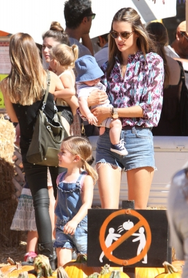 Victoria&#8217;s Secret model Alessandra Ambrosio takes children Anja and Noah out for some fun at Mr. Bones Pumpkin Patch in Los Angeles on October 14, 2012