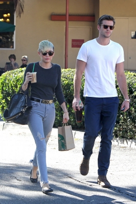 Coffee date! Miley Cyrus and Liam Hemsworth are spotted in Los Angeles on October 24, 2012