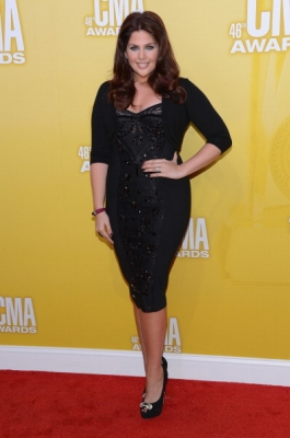 Hillary Scott of Lady Antebellum looks amazing in black dress with matching pumps at the 46th annual CMA Awards at the Bridgestone Arena on November 1, 2012 in Nashville, Tennessee