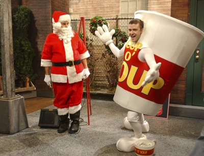 Justin Timberlake dresses up as a cup of soup as he joins Will Forte as Santa Claus on 'Saturday Night Live' in New York City